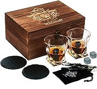 Juego de 2 vasos de whisky Twist. Set de regalo de piedras de whisky Bourbon. Juego de pinzas