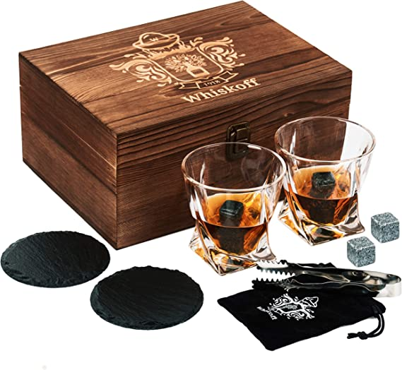 Whiskey Glass Set of 2 - Bourbon Whiskey Stones Gift Set - Twist Scotch Rocks Tongs