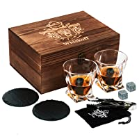 Whiskey Glass Set of 2 - Bourbon Whiskey Stones Gift Set - Rocks Whisky Chilling...