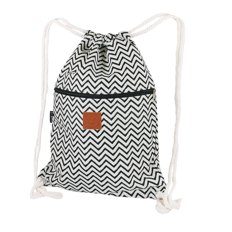 a6e58f3ece018 T-BAGS Thailand Baumwoll Turnbeutel Hipster - mit Reißverschluss - 24  Designs – Hochwertiger Beutel