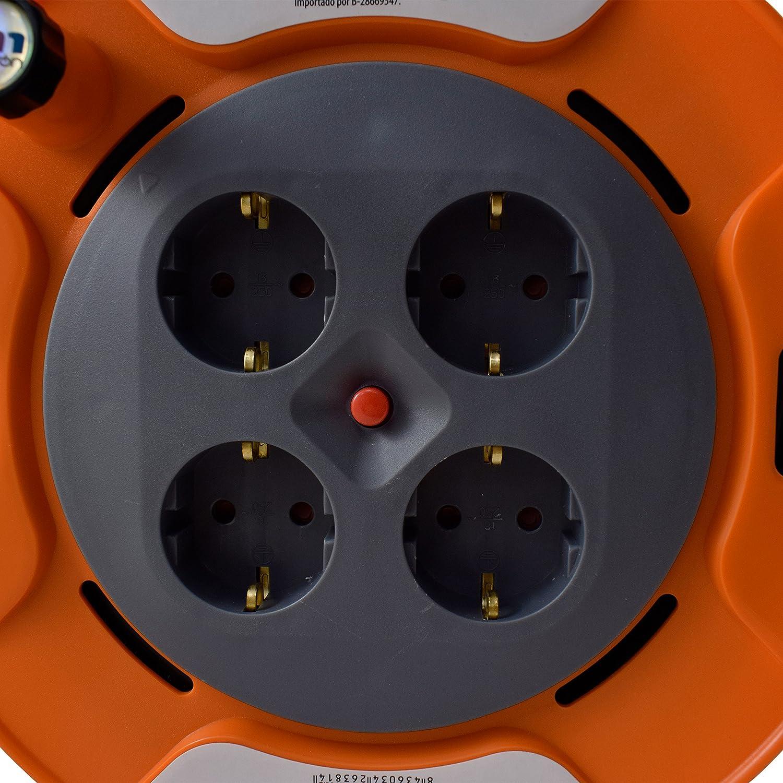 TM Electron TMUAD225 - Cable de alimentación en Bobina Enrollable de 25 Metros con 4 Tomas, Color Naranja: Amazon.es: Electrónica