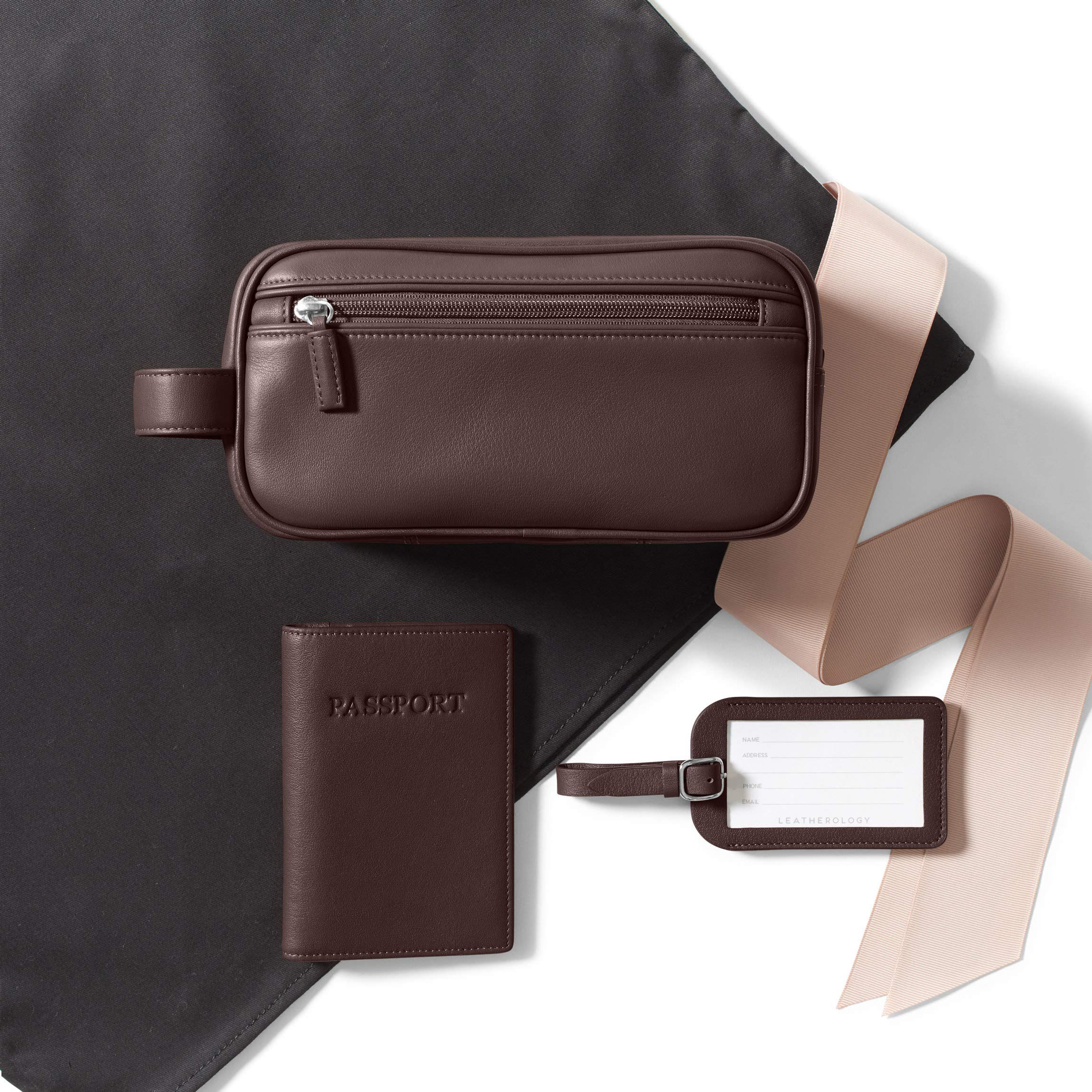 Leatherology Jetsetter Travel Gift Set for Him - Full Grain Leather Leather - Brown (Brown)