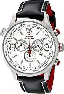 DETOMASO AURINO Mens Watch Chronograph Analog Quartz Black Leather Strap White Dial DT1061-I