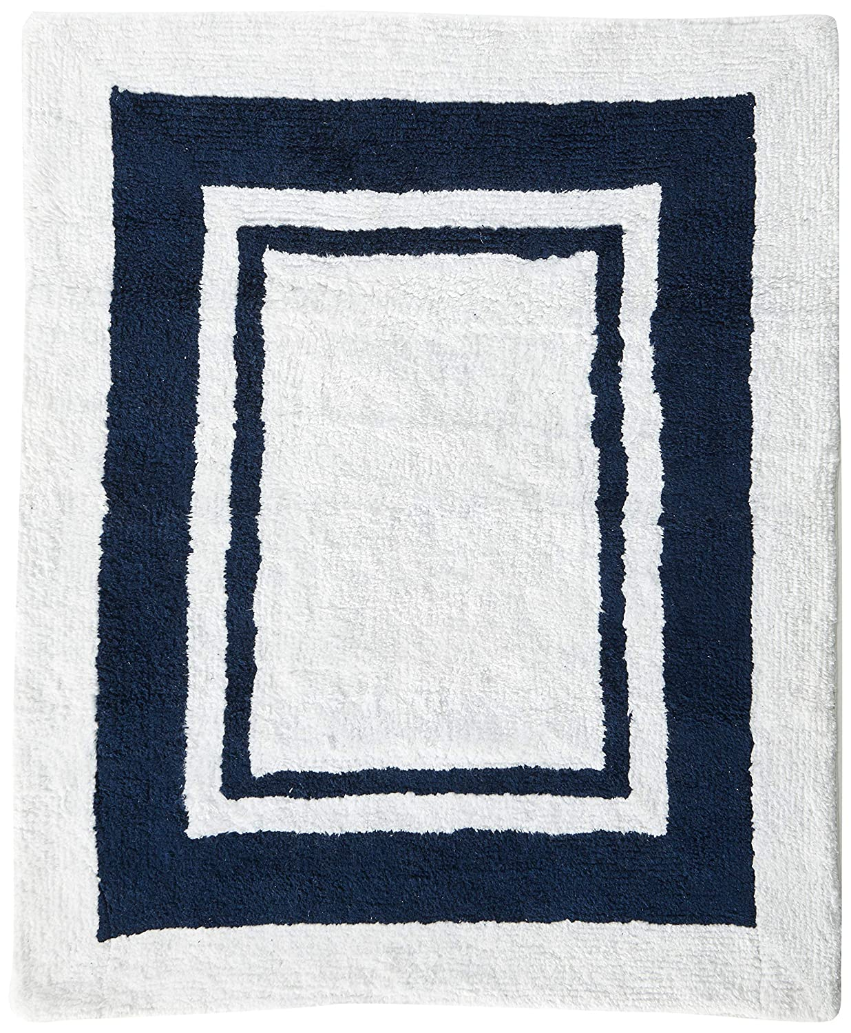 White and Navy Modern Hotel Accent Floor Rug by Sweet Jojo Designs B00ZSRGIM4