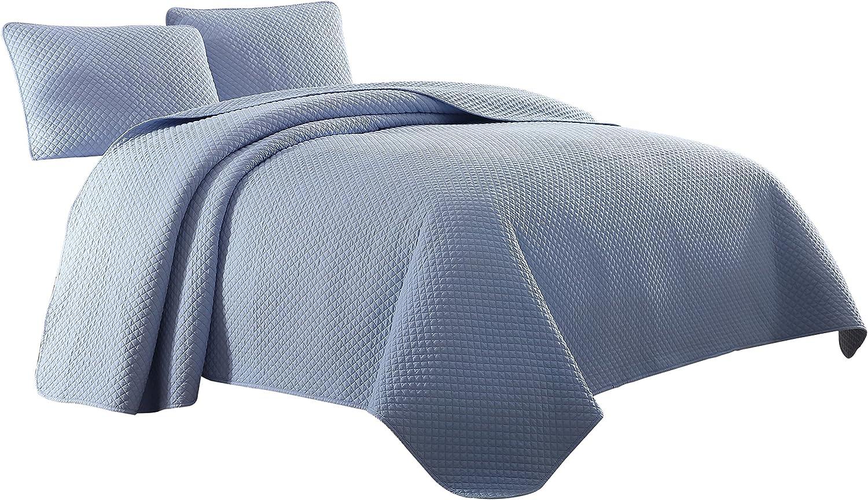 Cozy Beddings Elliott Quilt Set, Twin/Twin XL, Light Blue