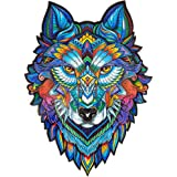 Unidragon Wooden Puzzle Jigsaw, Best Gift for Adults and Kids, Unique Shape Jigsaw Pieces Majestic Wolf, 9.7 x 13 inches…