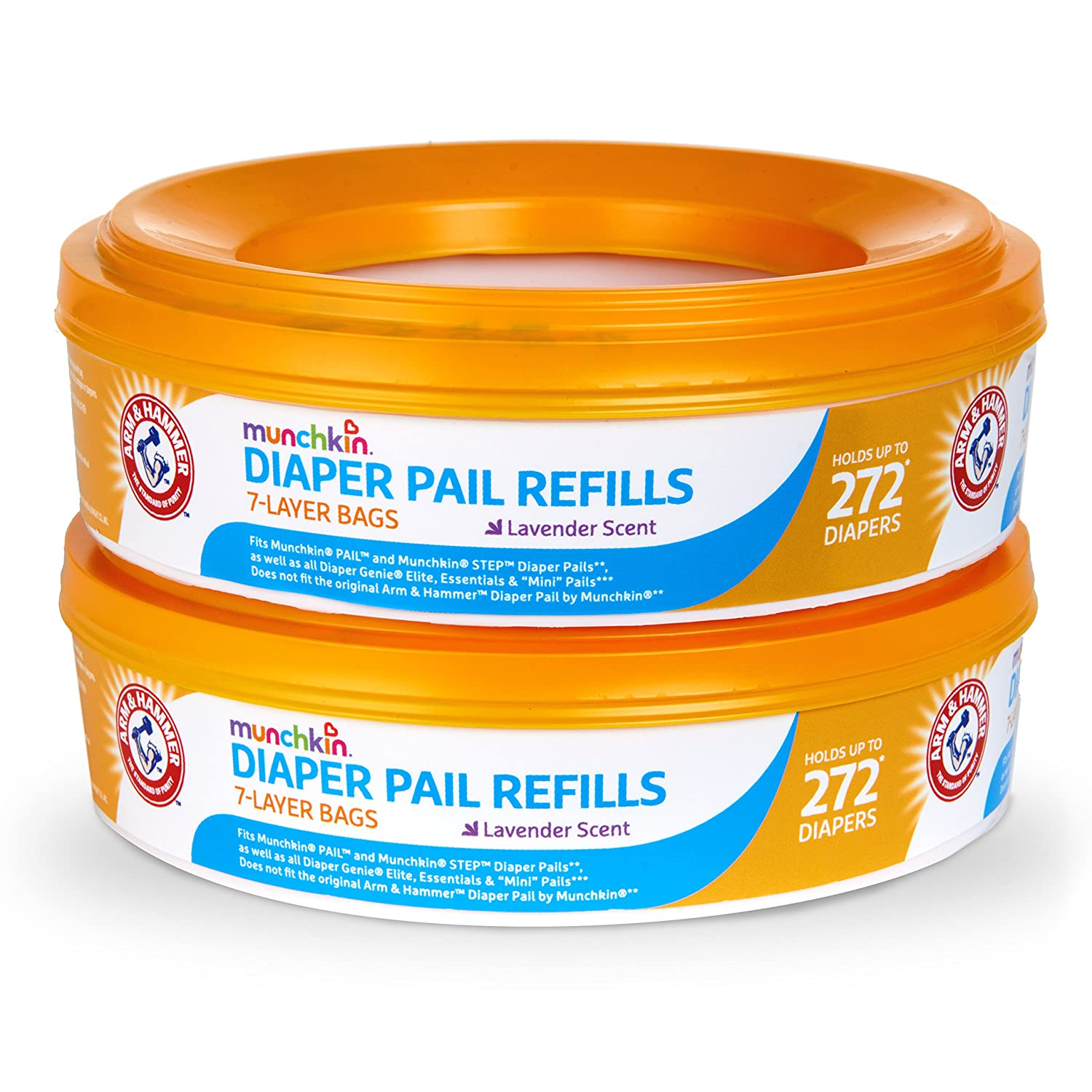 Amazon.com : Munchkin Arm and Hammer Diaper Pail Refill Rings, 544 Count :  Baby