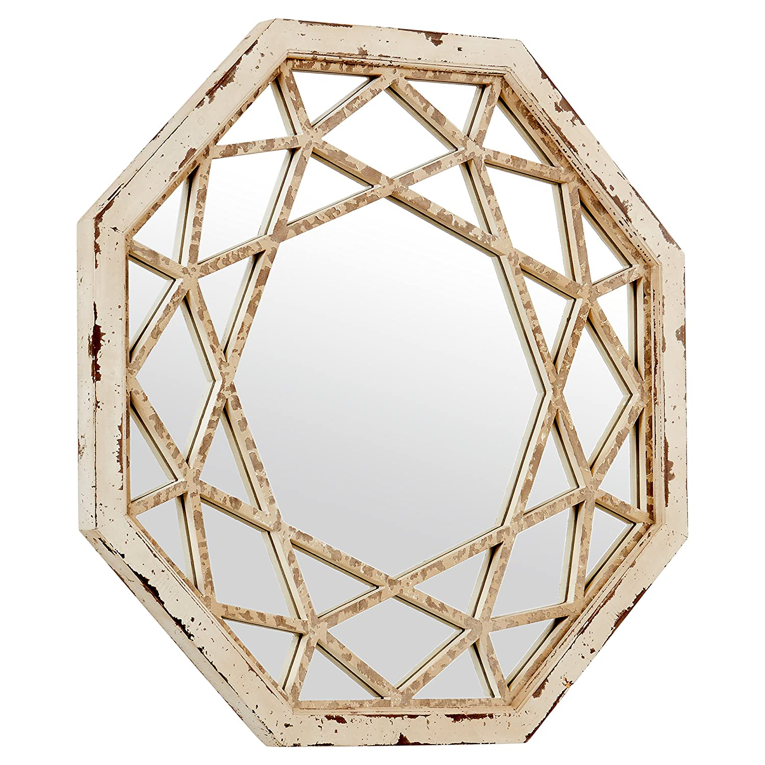 Stone Beam Vintage-Look Octagonal Hanging Wall Mirror Decor, 25.5 Inch Height, Antique White