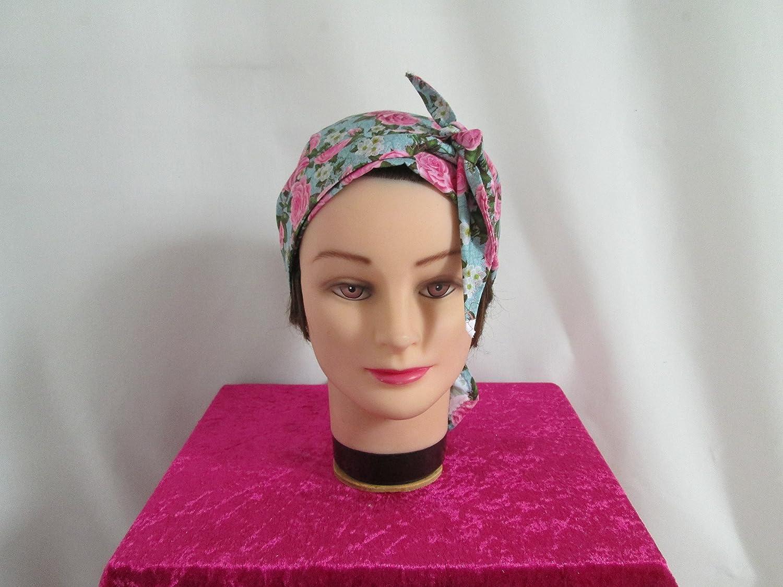 Foulard, turban chimio, bandeau pirate au féminin vert, rose à fleur