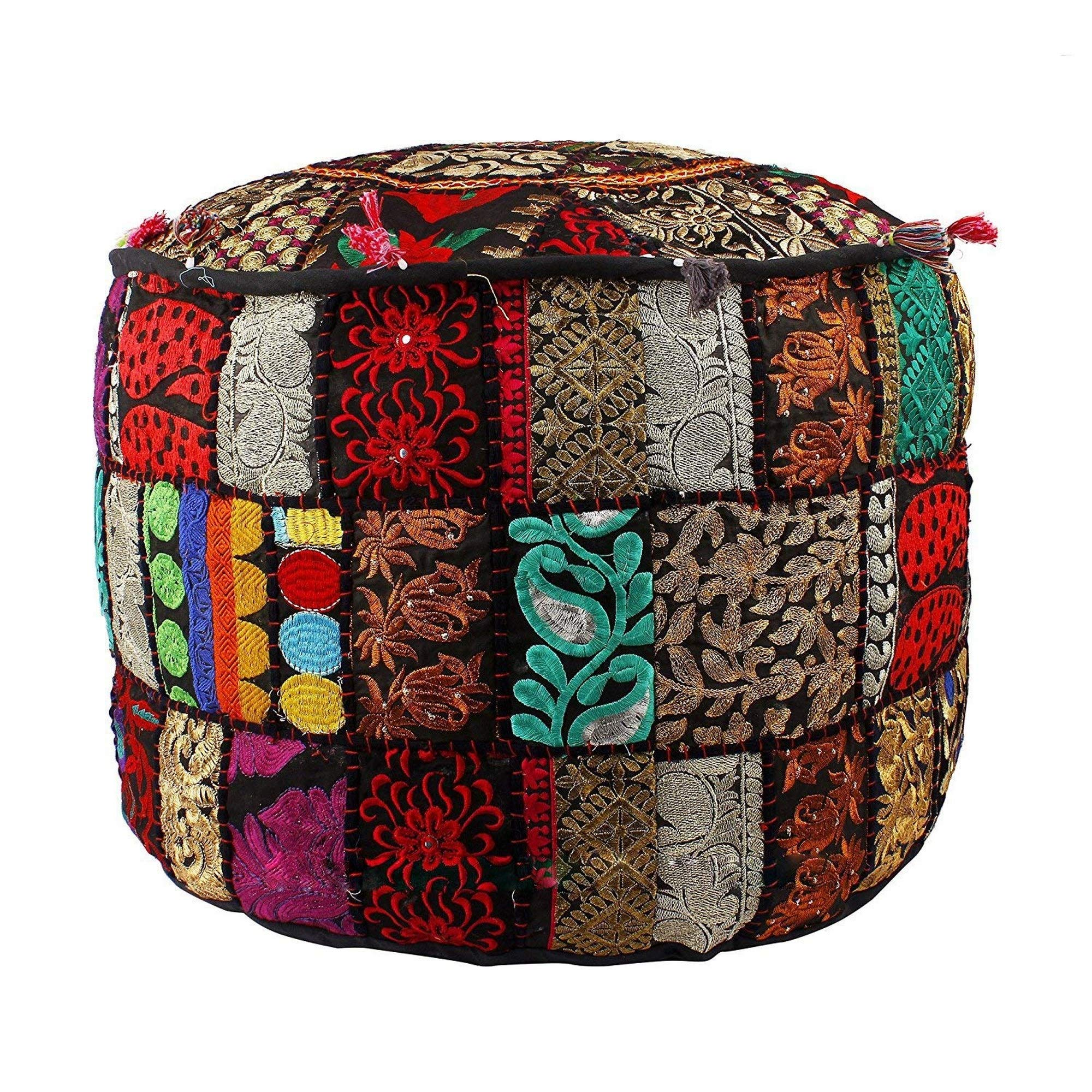 THE ART BOX Indian Vintage Ottoman Pouf Cover,Patchwork Ottoman, Living Room Patchwork Foot Stool Cover,Decorative Handmade Home Chair Cover by THE ART BOX