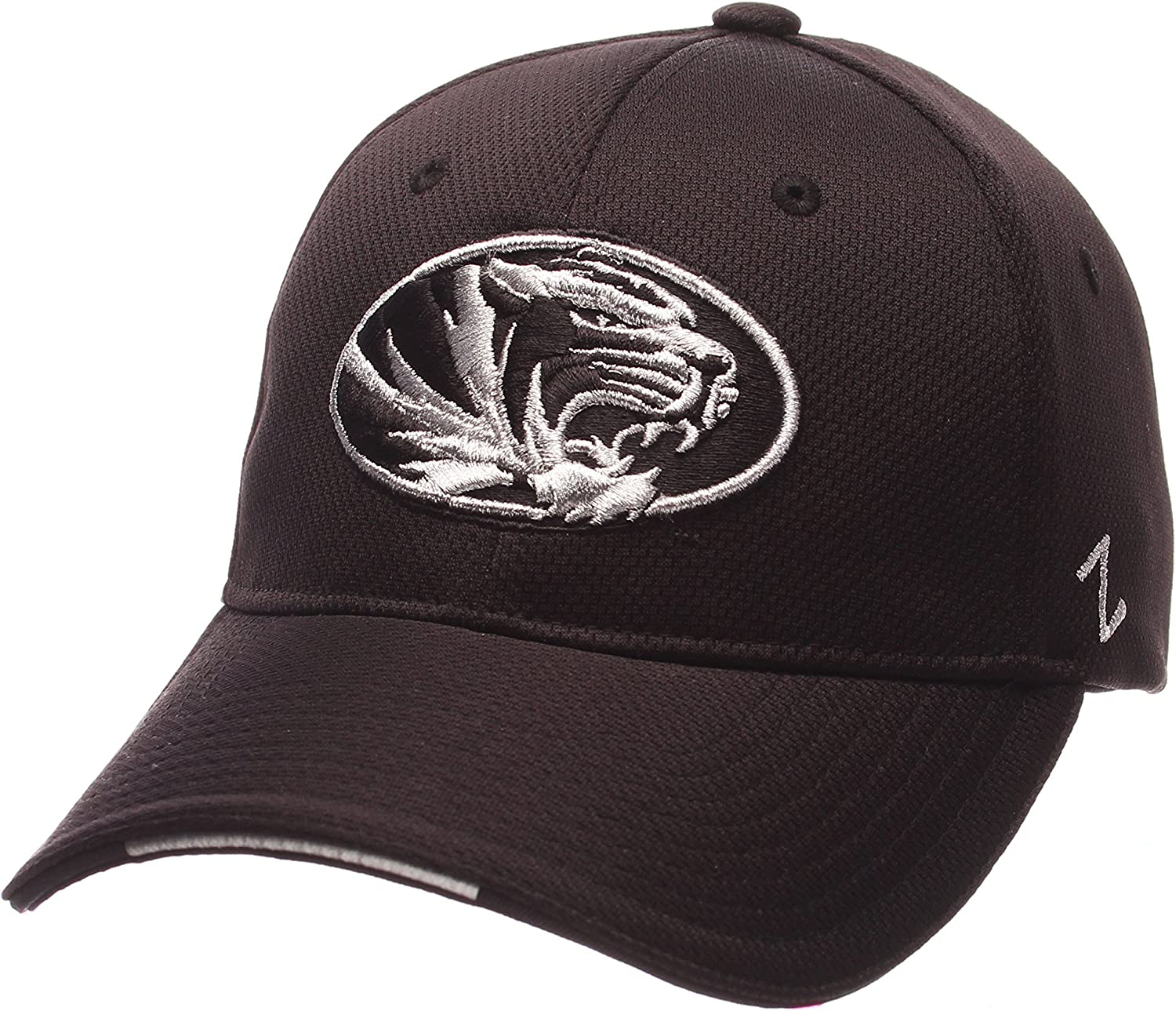 Missouri Tigers, Medium//Large Zephyr NCAA White-Out Fitted Hat