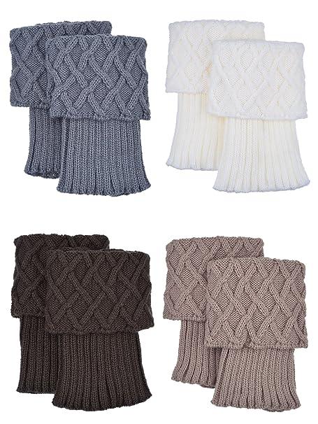diseño encantador varios tipos de busca lo mejor Calentadores de Pierna de Mujer Calcetines de Bota de Puño de Punto, 4 Pares