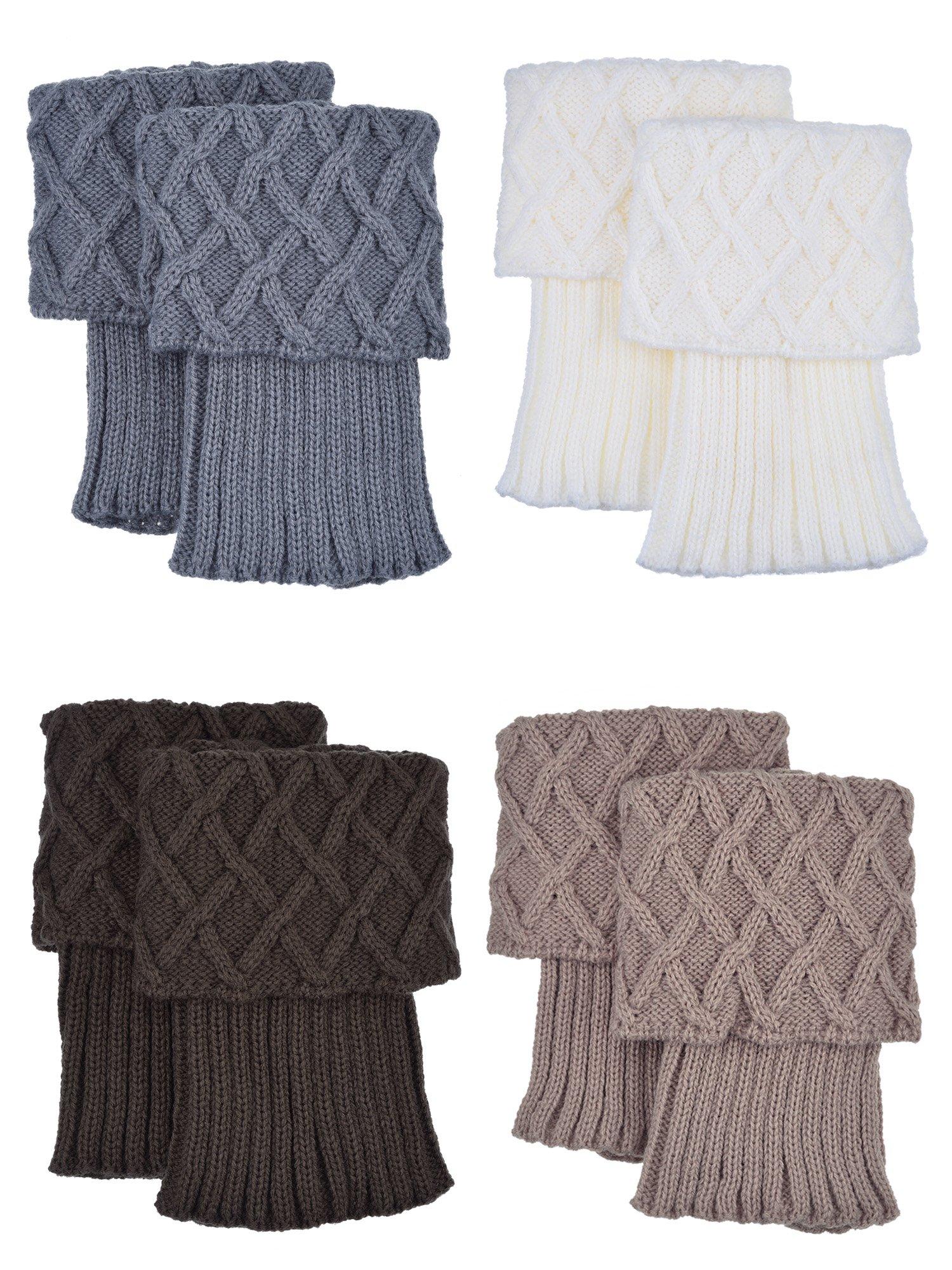 Shappy Women Boot Topper Socks Crochet Cuffs Knit Leg Warmers, 4 Pair