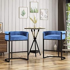 Christopher Knight Home Best Modern Wide Bucket Velvet Barstool, Cobalt and Black (Set of 2)