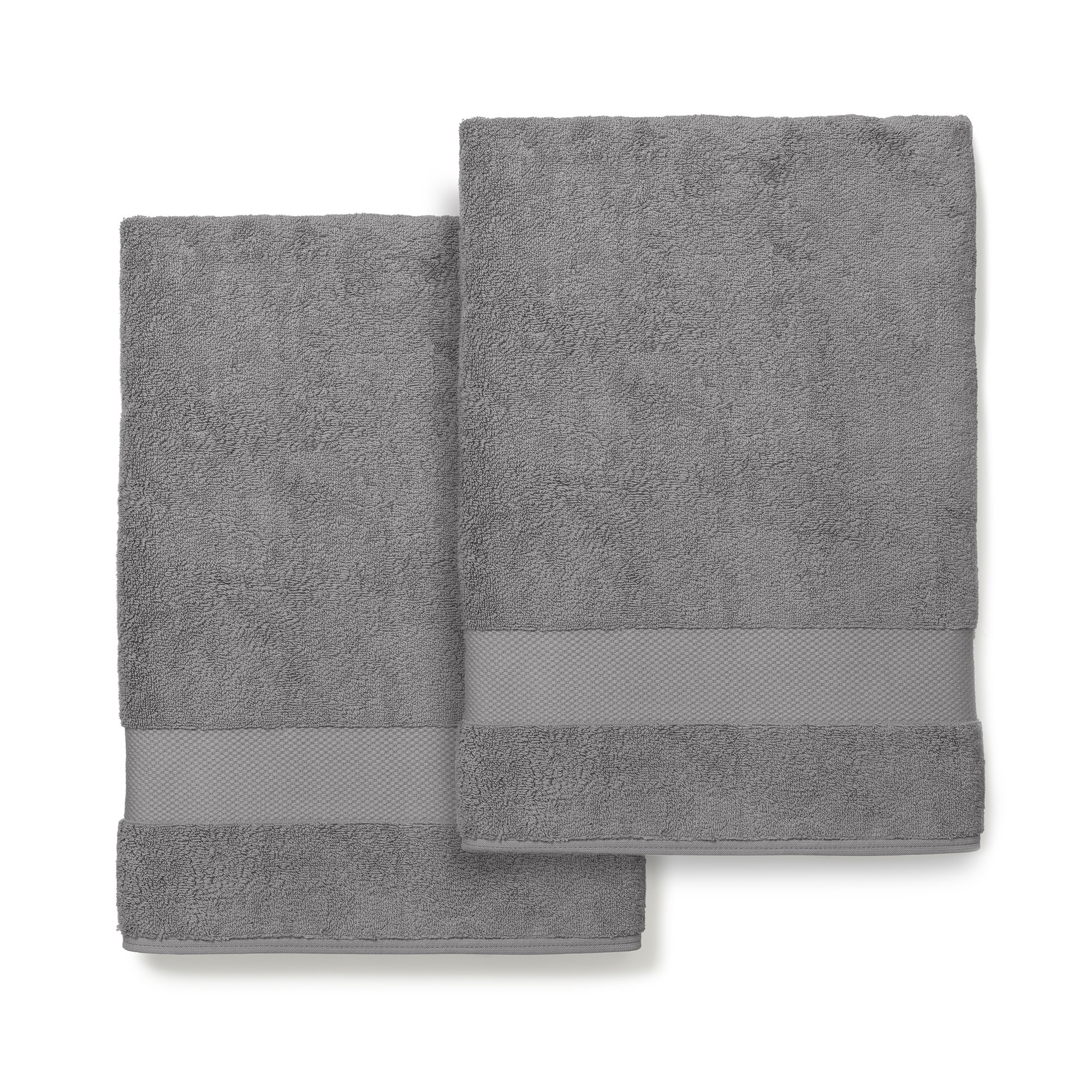 Boll & Branch Luxury Bath Sheets - Fair Trade Organic Cotton Large Bath Towels - Stone, 2 Pack