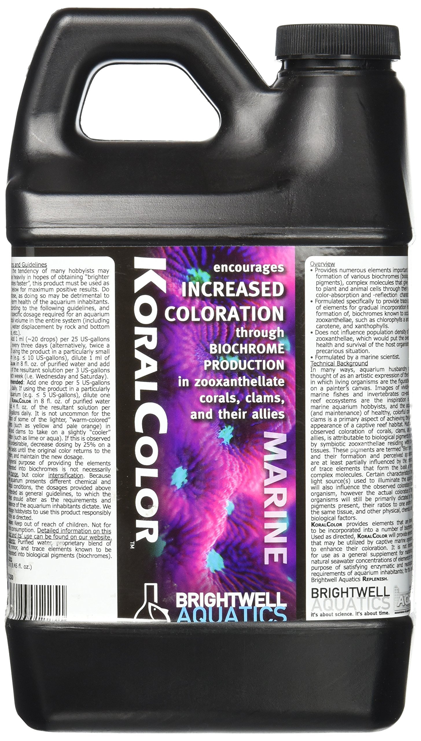 Brightwell Aquatics KoralColor, Encourages Increased Coloration Through biochrome Production in Corals, Clams, Their Allies, 2 Liter