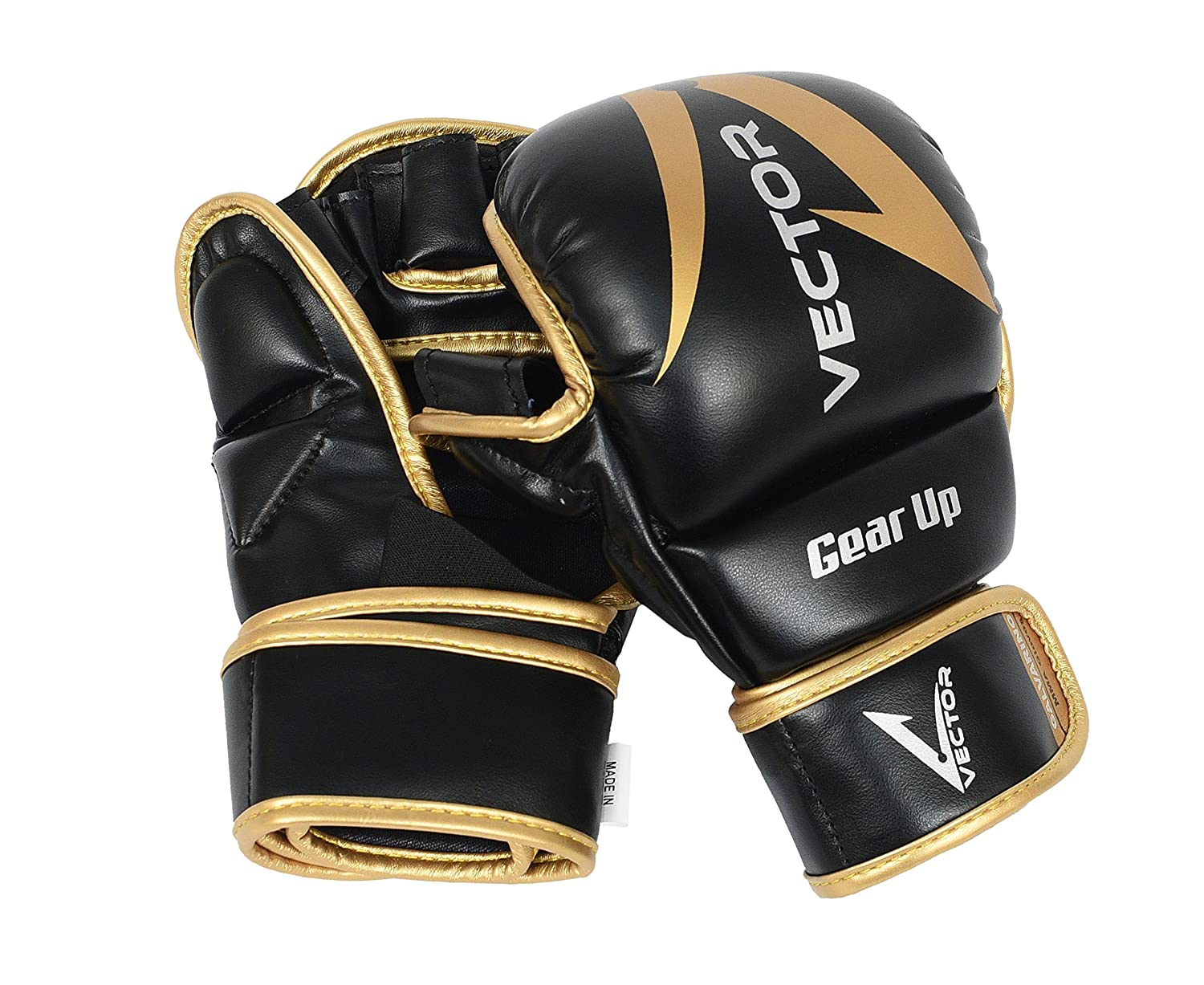 MMA Grappling Gloves Rex Leather UFC Fight Boxing Punch Bag Sparring Mitt Black