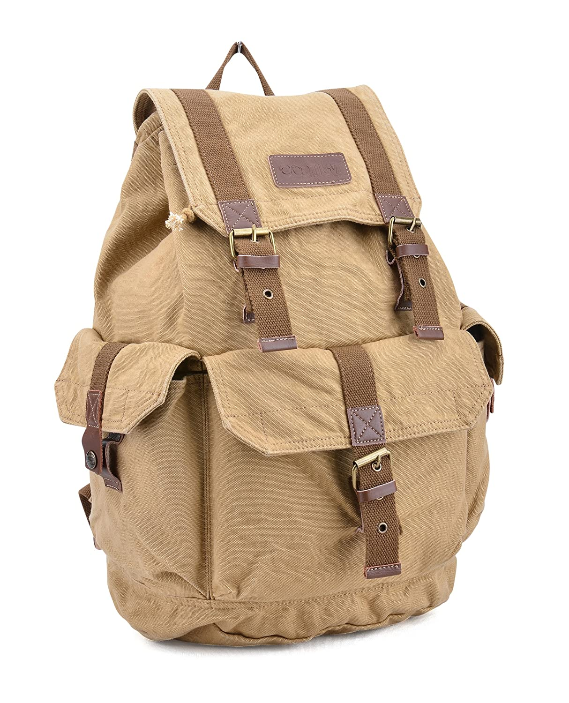 Gootium 21101KA-S High Density Thick Canvas Backpack Rucksack Khaki Small