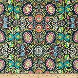 Art Gallery Indie Folk Jersey Knit Khokhloma Gloom Dark Blue Fabric By The Yard