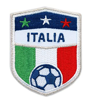 Italia Fútbol/Stick nadadores 70 x 55 mm/plata bordado, para planchar,