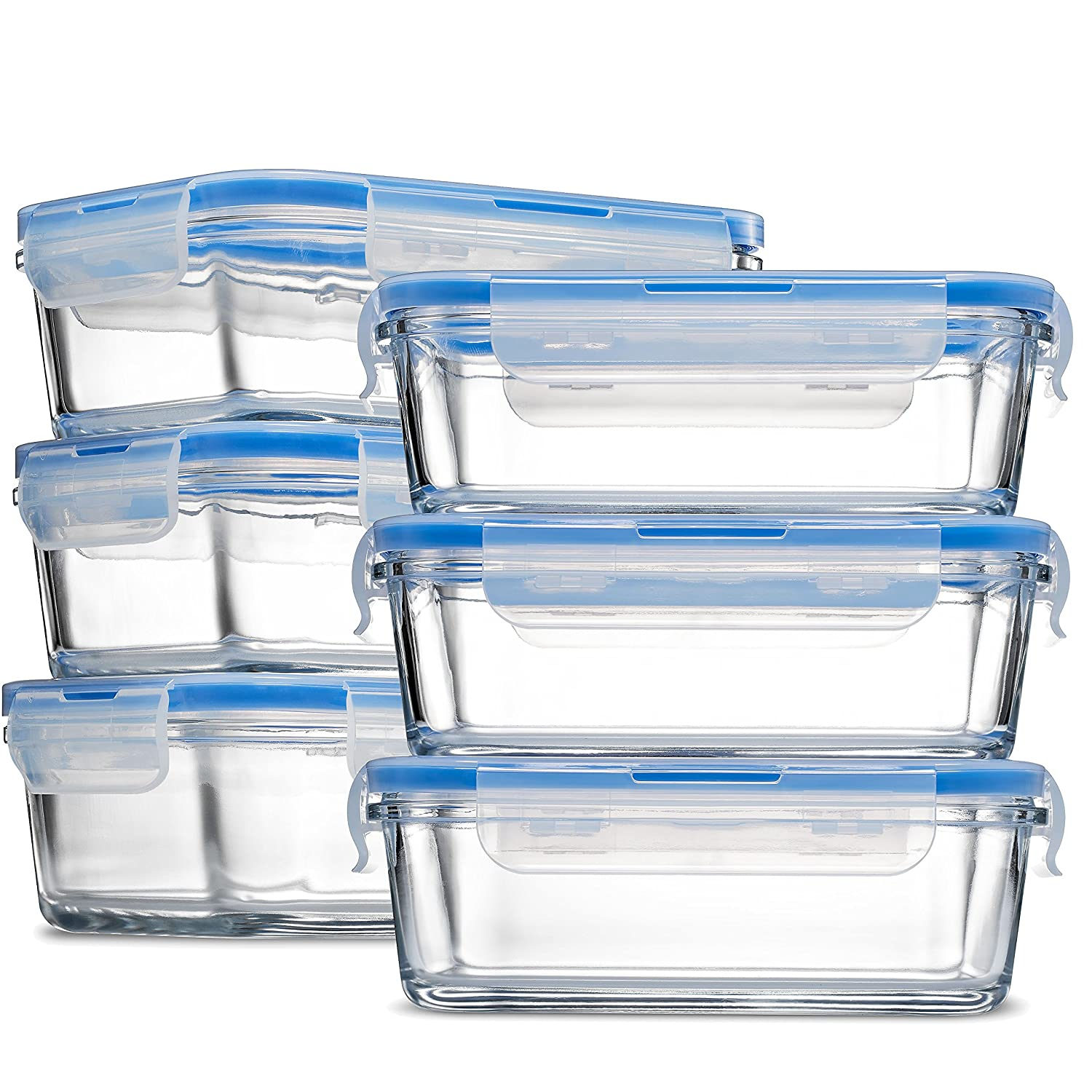 Glass Meal Prep Food Storage Containers - (6-Pack 28 Oz.) Portion Control Lunch Containers, with BPA Free Airtight Snap Locking Lids, Prep, Freeze, Reheat, Bake, Oven Safe Containers for Home and Work FD-G101/6