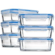 Glass Meal Prep Food Storage Containers - (6-Pack 28 Oz.) Portion Control Lunch Containers, with BPA Free Airtight Snap Locking Lids, Prep, Freeze, Reheat, Bake, Oven Safe Containers for Home and Work