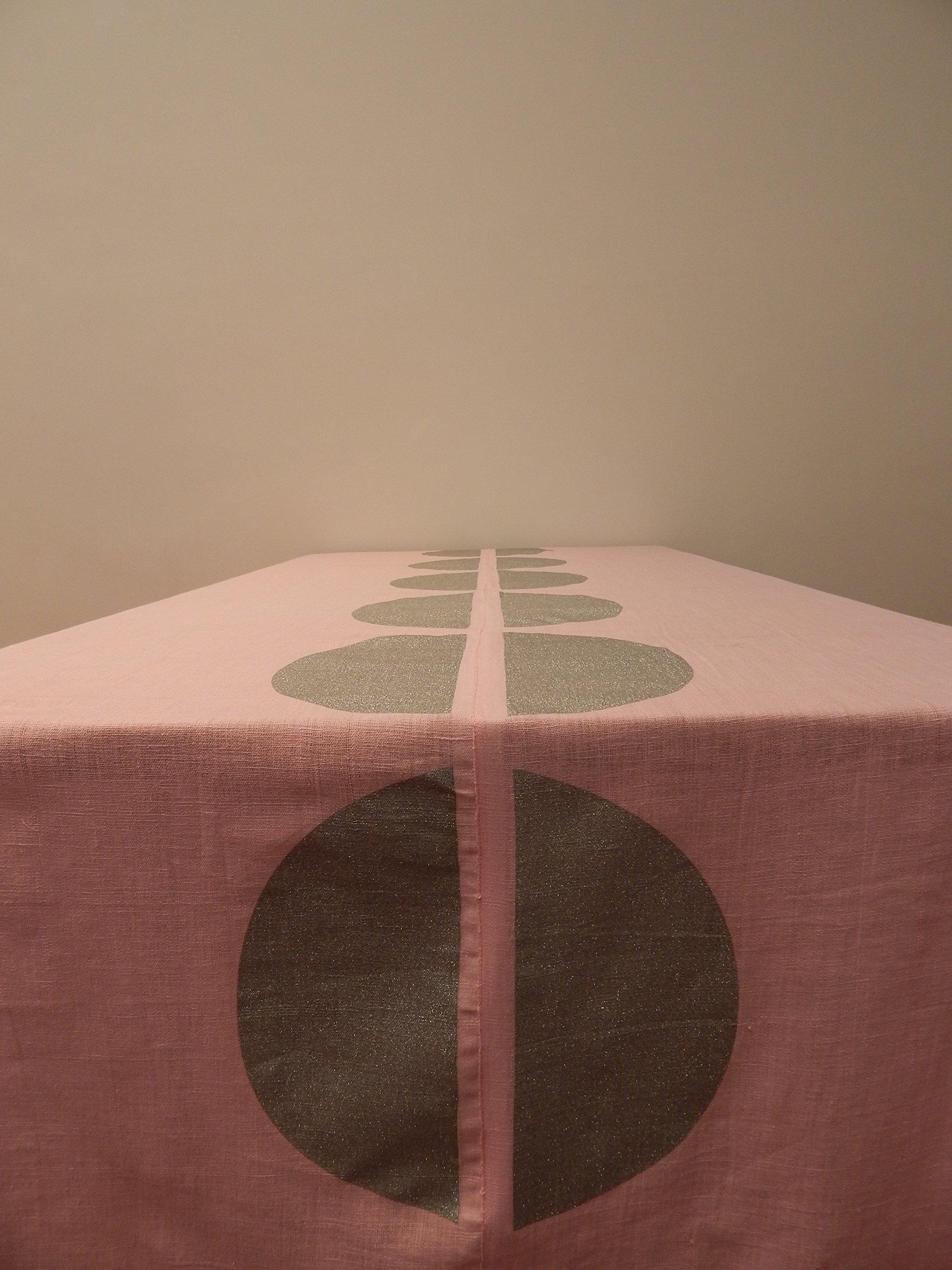 Gitika Goyal Home Cotton Khadi Silver Screen Printed Tablecloth with Dot Design, Pink, 72'' x 108''