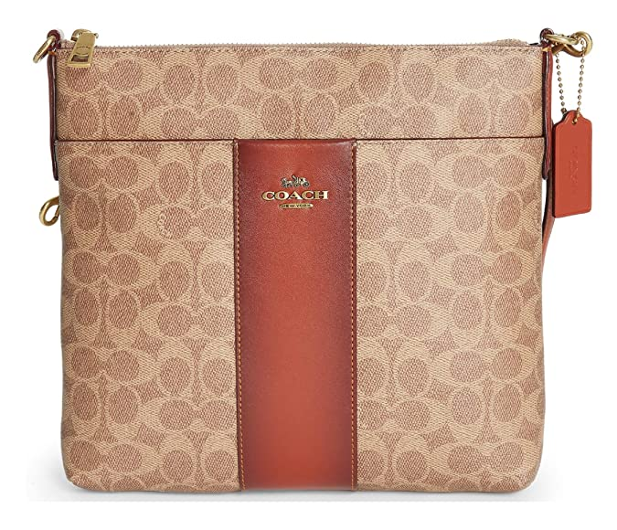 Amazon.com  COACH Women s Color Block Coated Canvas Signature Large  Messenger Crossbody B4 Tan Rust One Size  Shoes 09e0488cce97f
