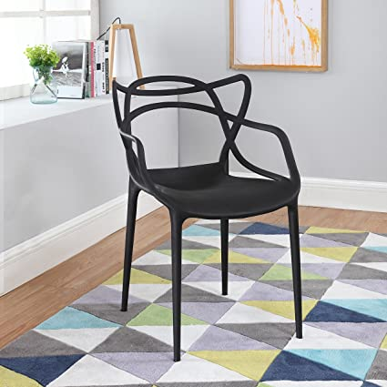 Divano Roma Furniture Modern Set Of 2 Hollow Out Abstract Pattern Chair  (Black)