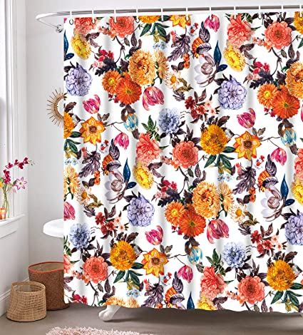 We Art Floral Shower Curtains Fabric Blossom Shower Curtain Set With 12 Hooks Red White 72 72