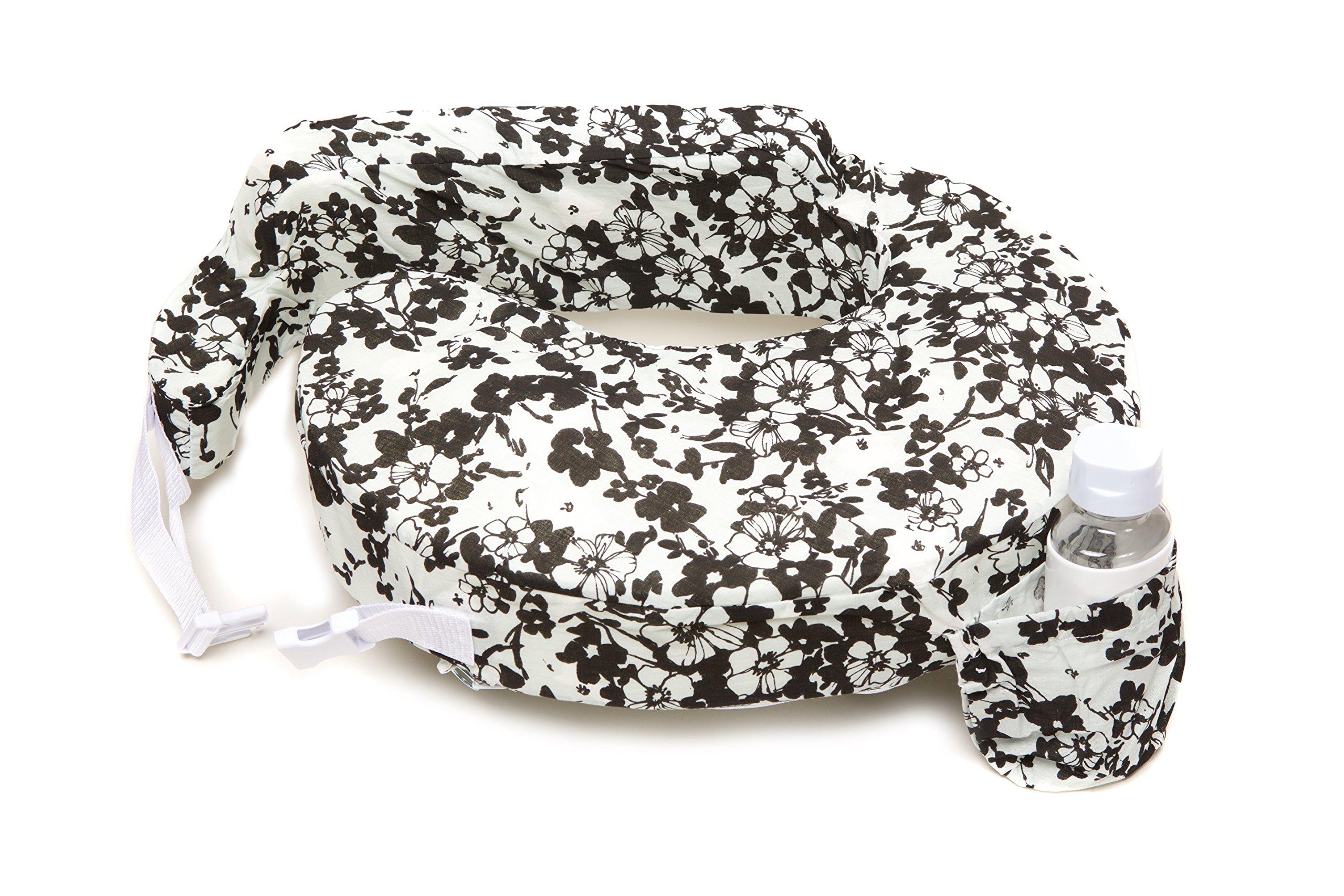 Zenoff Products Nursing Pillow Slipcover, Evening Bloom, Grey, White, Black