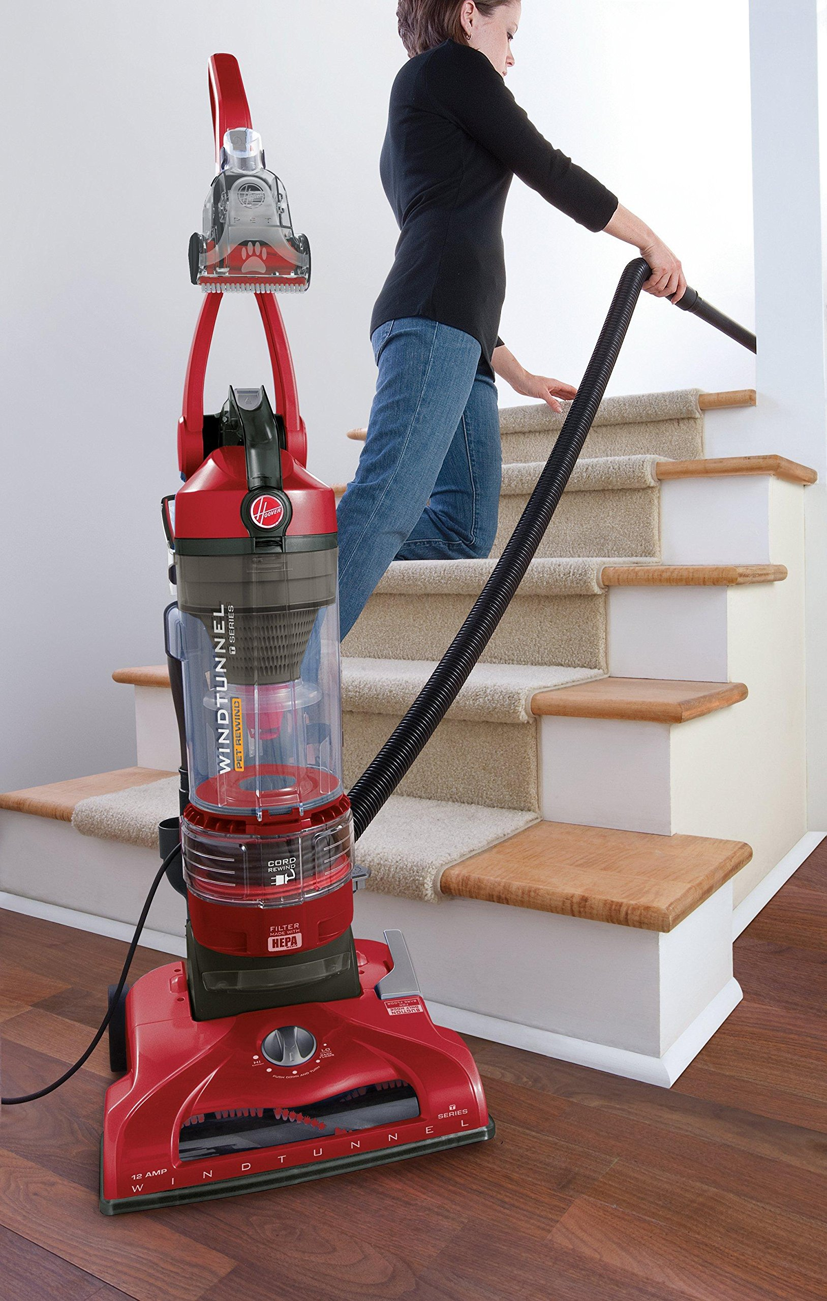 Hoover T-Series WindTunnel Pet Rewind Bagless Corded Upright Vacuum UH70214PC, Red