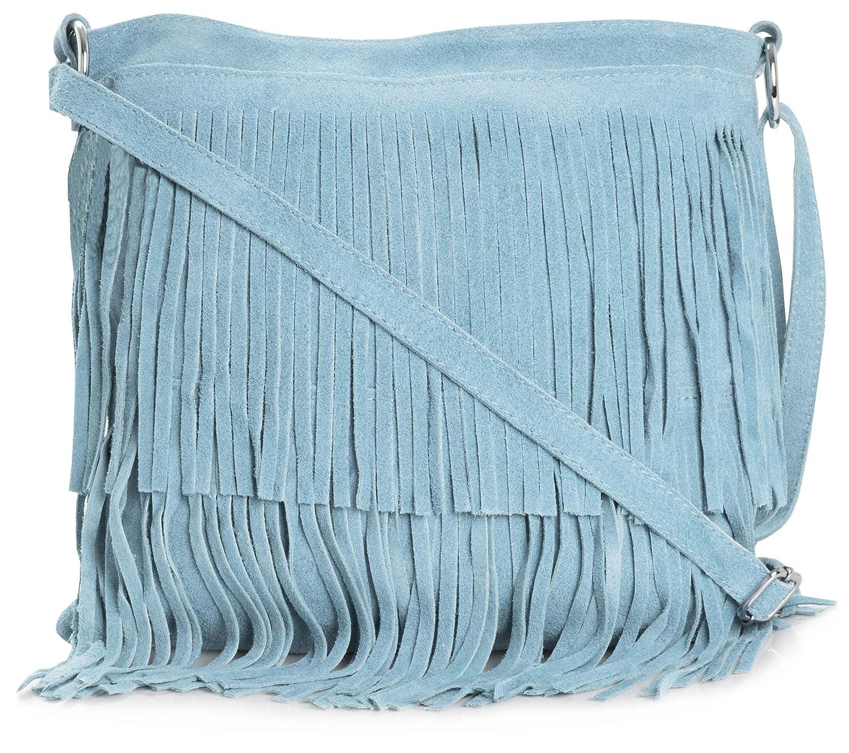 a5b932c85c BHBS Femmes Sac à Main de Daim Italien Cuir Tassle Frange Cowgirl épaule à  la Mode 32x26 cm (LxH) (179V Baby Blue): Amazon.fr: Chaussures et Sacs