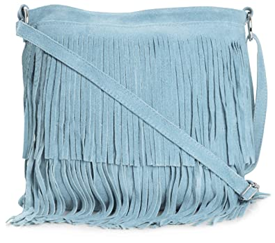 f9b7b2ed2c5d LIATALIA Womens Suede Leather Tassle Fringe Shoulder Bag (Large Size) -  ASHLEY  Baby