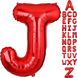 40 Inch Large Letter J Foil Balloons Red Alphabet Mylar Balloon for Birthday Party Decoration Wedding Decor Girls