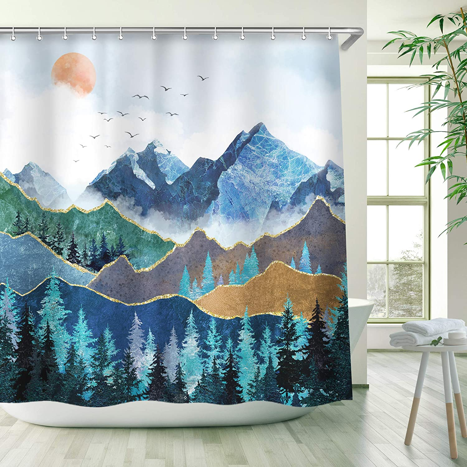 RosieLily Mountain Shower Curtain, Nature Shower Curtains Set with 12 Hooks, Waterproof Forest Shower Curtain, Decor Blue Japanese Mountain Forest Shower Curtain , 72x78 inch