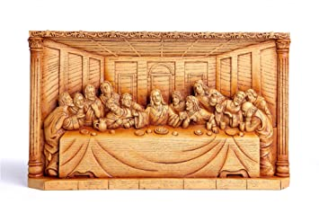 Amazon last supper faux wood carving home kitchen