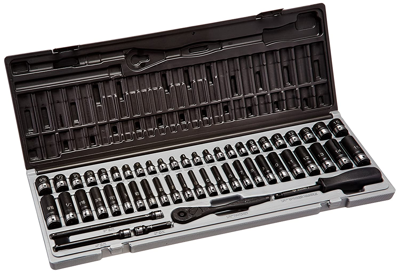 Grey Pneumatic 89653CRD 1/4' Drive 53pc Standard/Deep Length Fractional and Metric Duo-Socket Set - 6 P