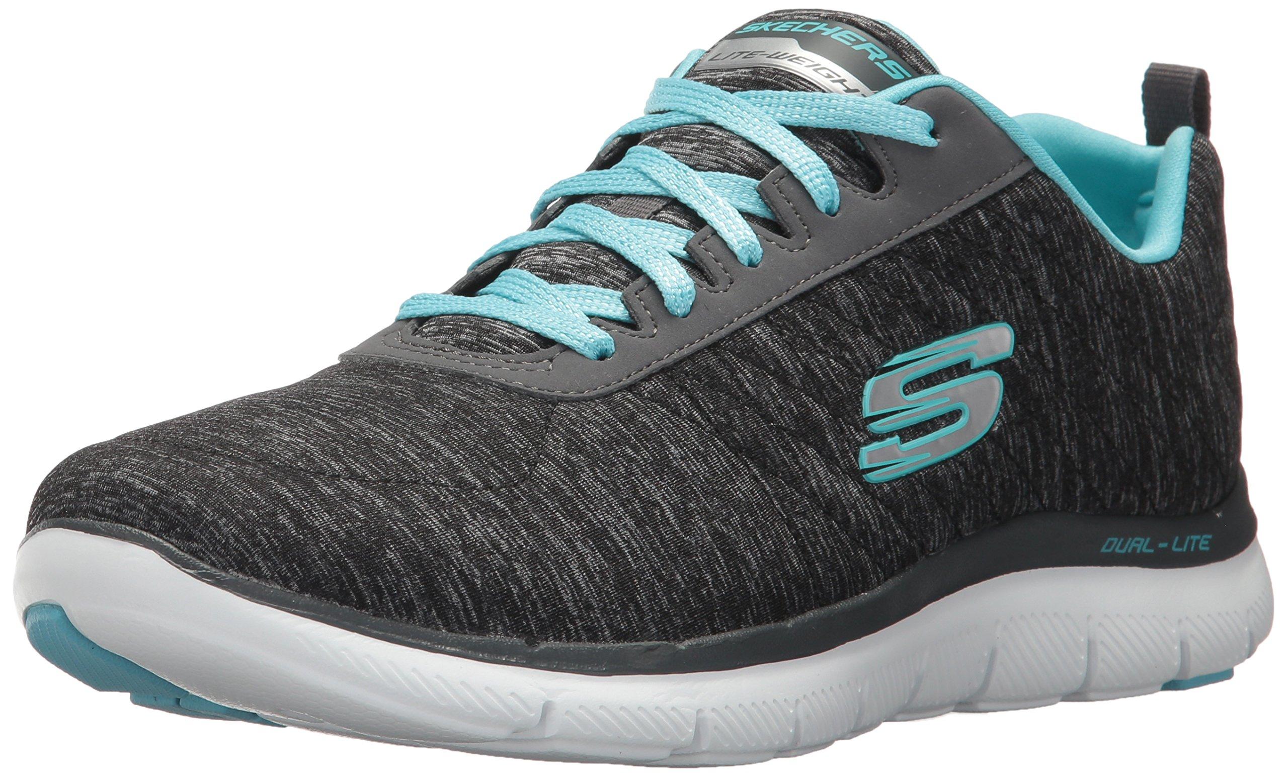 Skechers Sport 12753 Women's Flex Appeal 2.0 Sneaker,Black Light Blue,11 W US