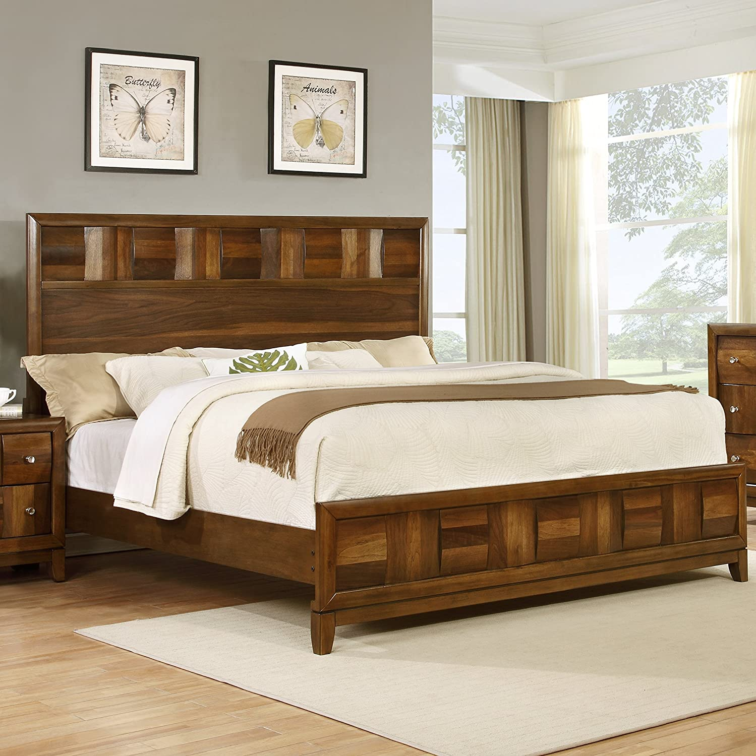 amazoncom roundhill furniture calais solid wood construction bedroom set with bed dresser mirror 2 night stands king walnut kitchen dining brown solid wood furniture