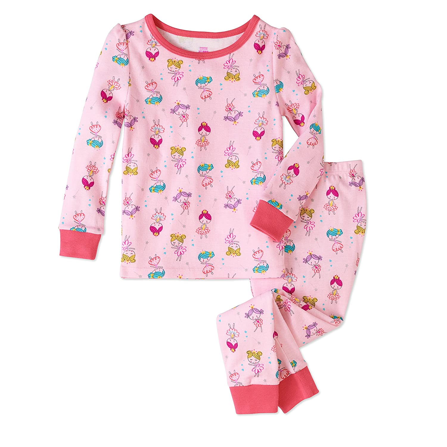 Baby and Toddler Girls Snug Fit Graphic Pajama Long Sleeve Shirt and Pants Two-Piece Set 2T, Pink Princess