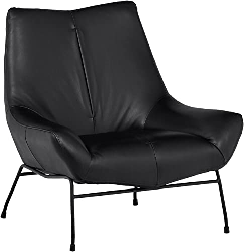 Rivet Villain Mid-Century Modern Leather Metal Leg Accent Lounge Chair, 37.4 W, Black