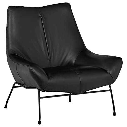 Rivet Villain Mid-Century Modern Leather Metal Leg Accent Lounge Chair