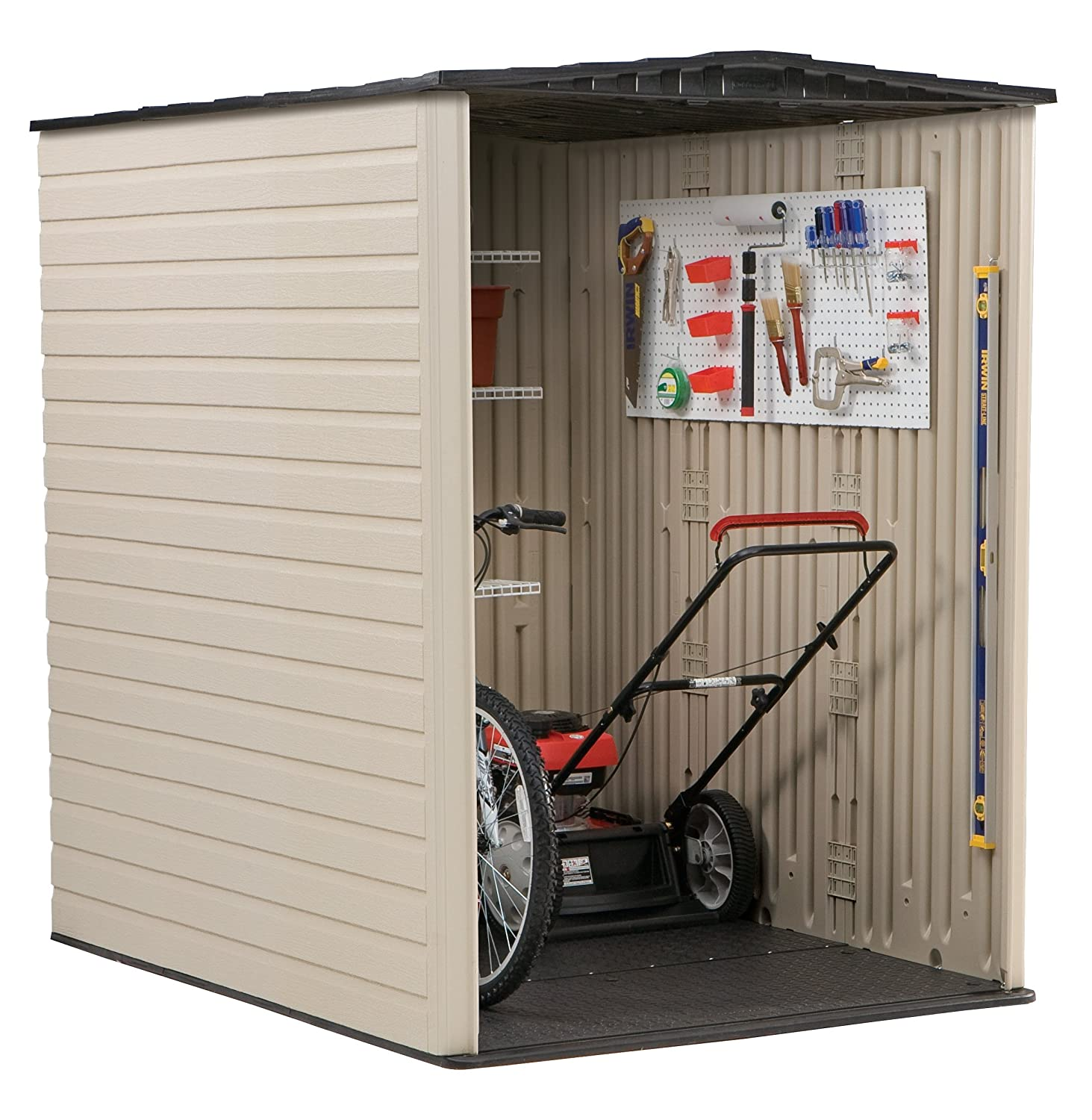 amazoncom rubbermaid plastic large outdoor storage shed 159 cu ft sandalwood with onyx roof fg5l3000sdonx garden outdoor - Garden Sheds 7x7