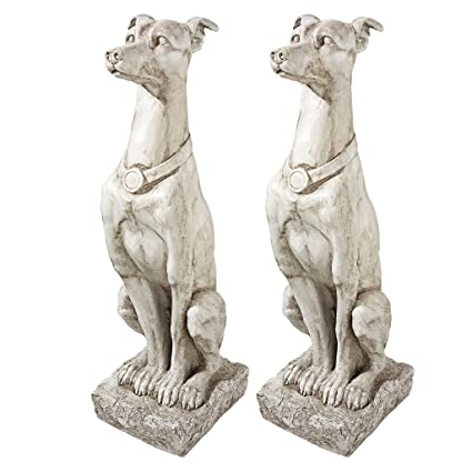 Merveilleux Design Toscano Art Deco Whippet Greyhound Sentinel Dog Statue: Set Of Two