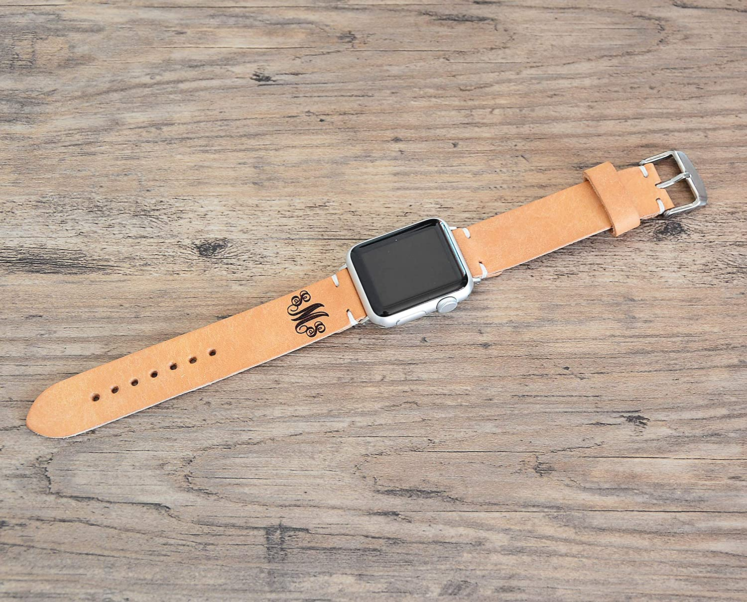 Apple Watch Band 38mm Custom Genuine Leather Vegetable Tanned Sport