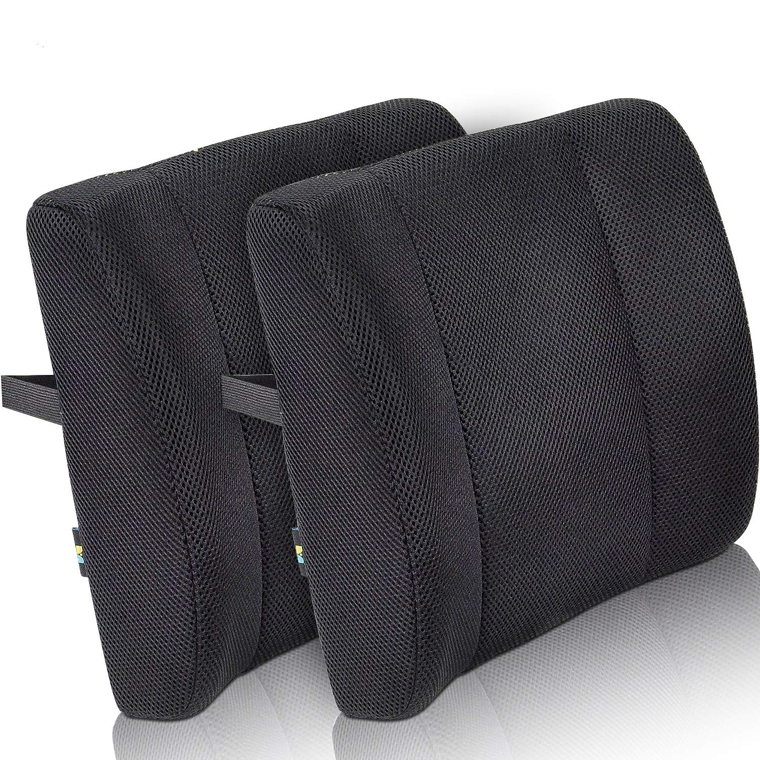 2 Pack of Lumbar Support Pillow with Cool Ventilation Technology, and Clip to Strap to The Chair, Sciatica and Pain Relief (Back Cushion) Viteps