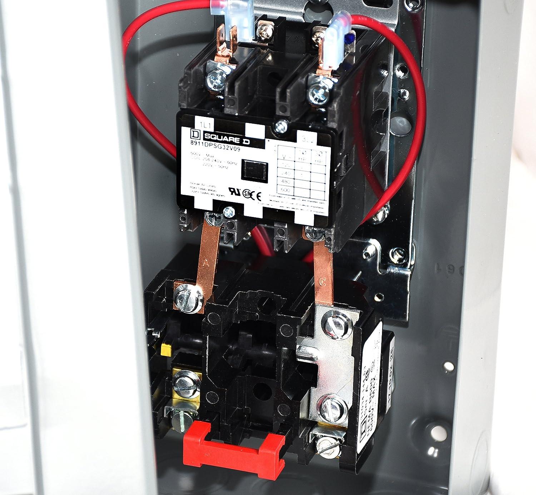 SQUARE D MAGNETIC MOTOR STARTER 8911DPSG32V09 8911DPSO32V09 5HP 1-PH 230VAC  30AMP - - Amazon.com