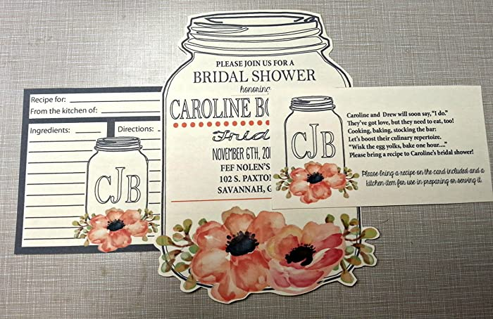floral cut out bridal shower invitations with recipe cards and poem cards