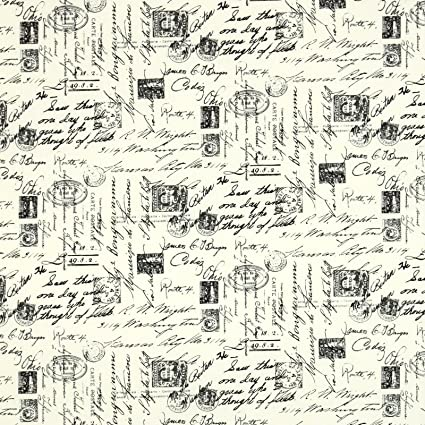 Timeless Treasures Letters from Paris Script Cream Fabric By The Yard Amazon com